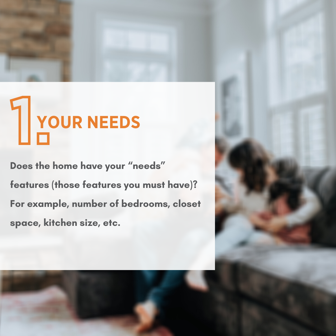 "Does the home have your ""needs"" features (those features you must have)? (For example, number of bedrooms, closet space, kitchen size, etc.)"