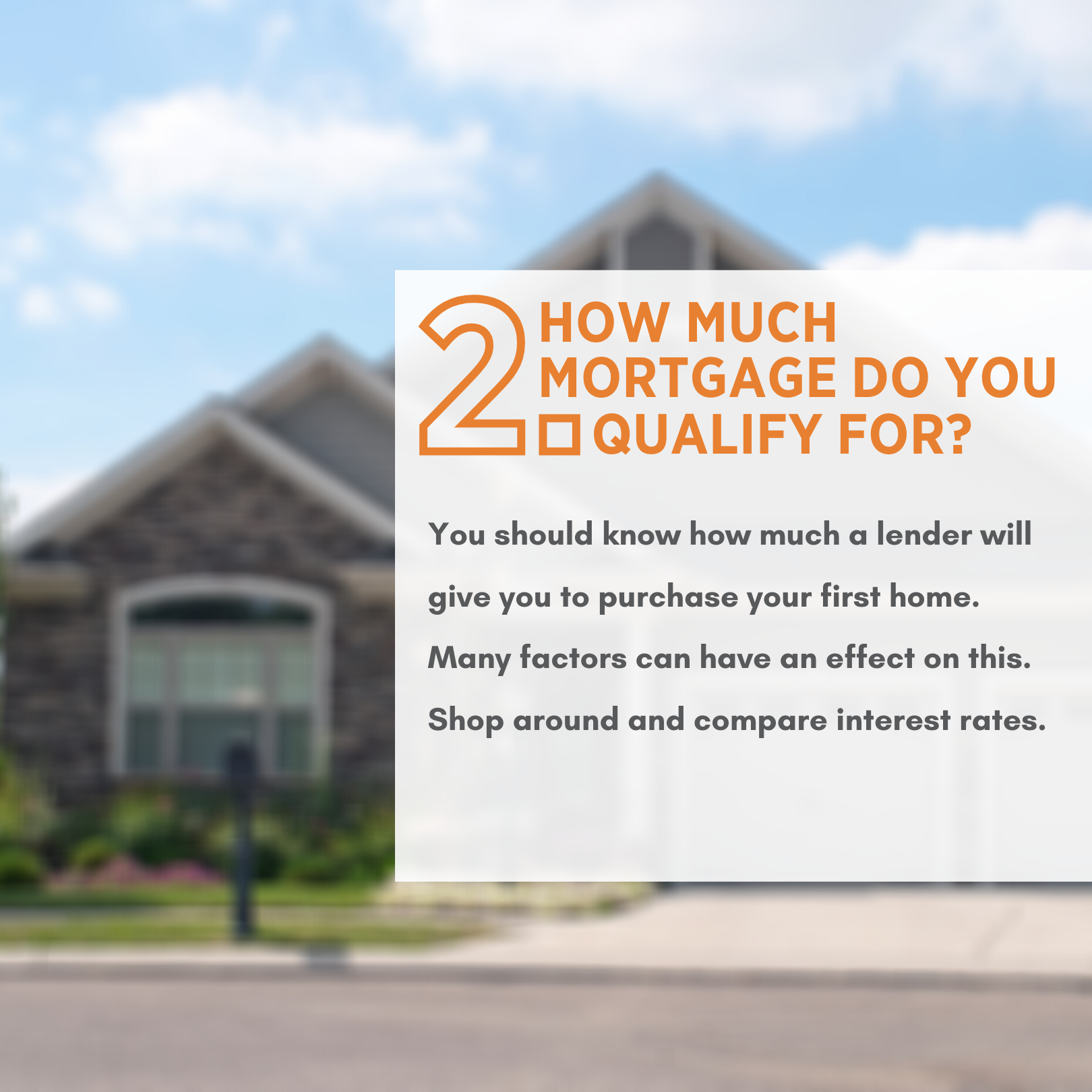 How much mortgage can you qualify for? You should know how much a lender will give you to purchase your first home. Many factors can have an effect on this. Shop around and compare interest rates.
